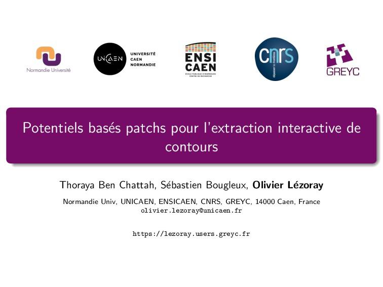 Potentiels bas´ es patchs pour l'extraction int...