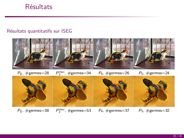 R´ esultats R´ esultats quantitatifs sur ISEG P...