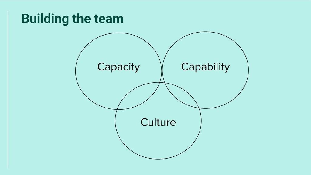 Culture Capacity Building the team Capability