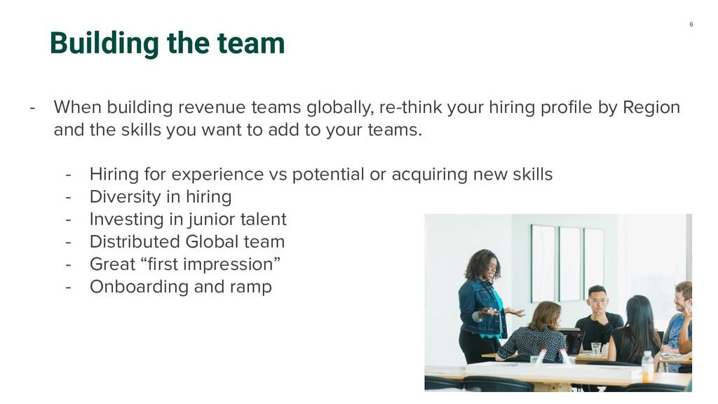 6 Building the team - When building revenue tea...