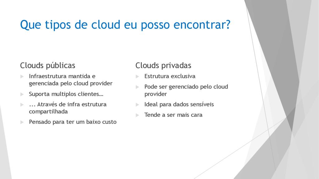 Que tipos de cloud eu posso encontrar? Clouds p...