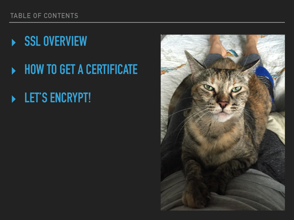 TABLE OF CONTENTS ‣ SSL OVERVIEW ‣ HOW TO GET A...