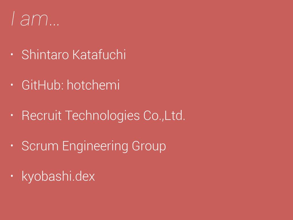 I am… • Shintaro Katafuchi • GitHub: hotchemi •...