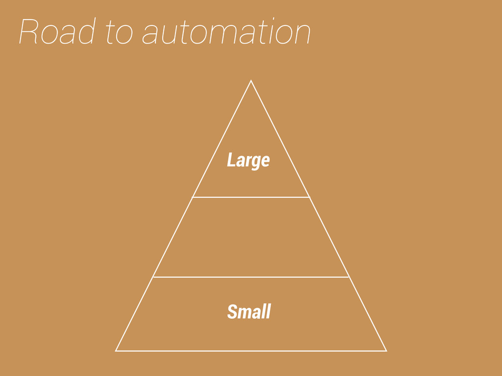 Road to automation Small Large