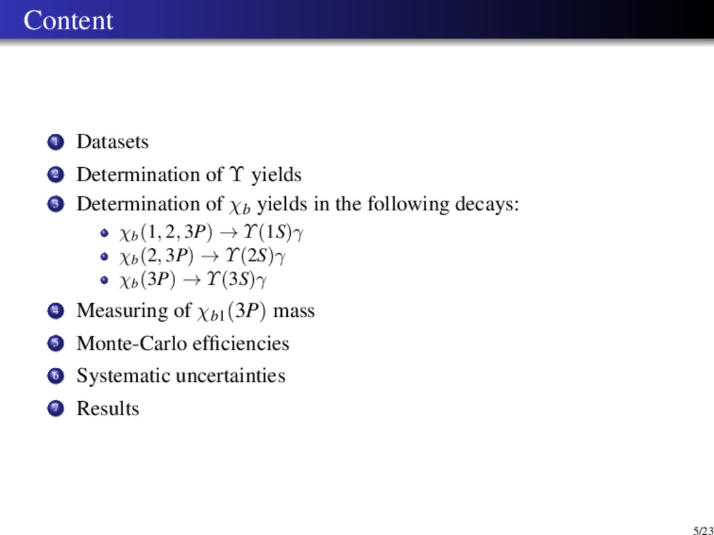 Content 1 Datasets 2 Determination of Υ yields ...