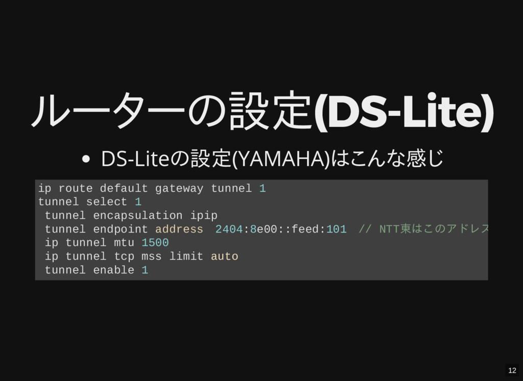 ルーターの設定(DS-Lite) DS-Liteの設定(YAMAHA)はこんな感じ ip ro...