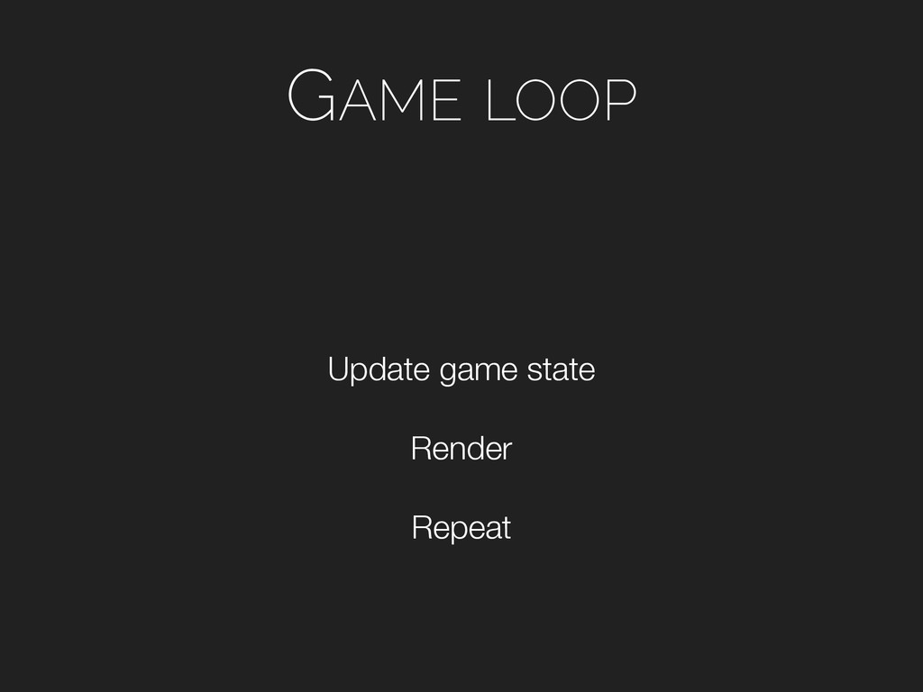 GAME LOOP Repeat Render Update game state