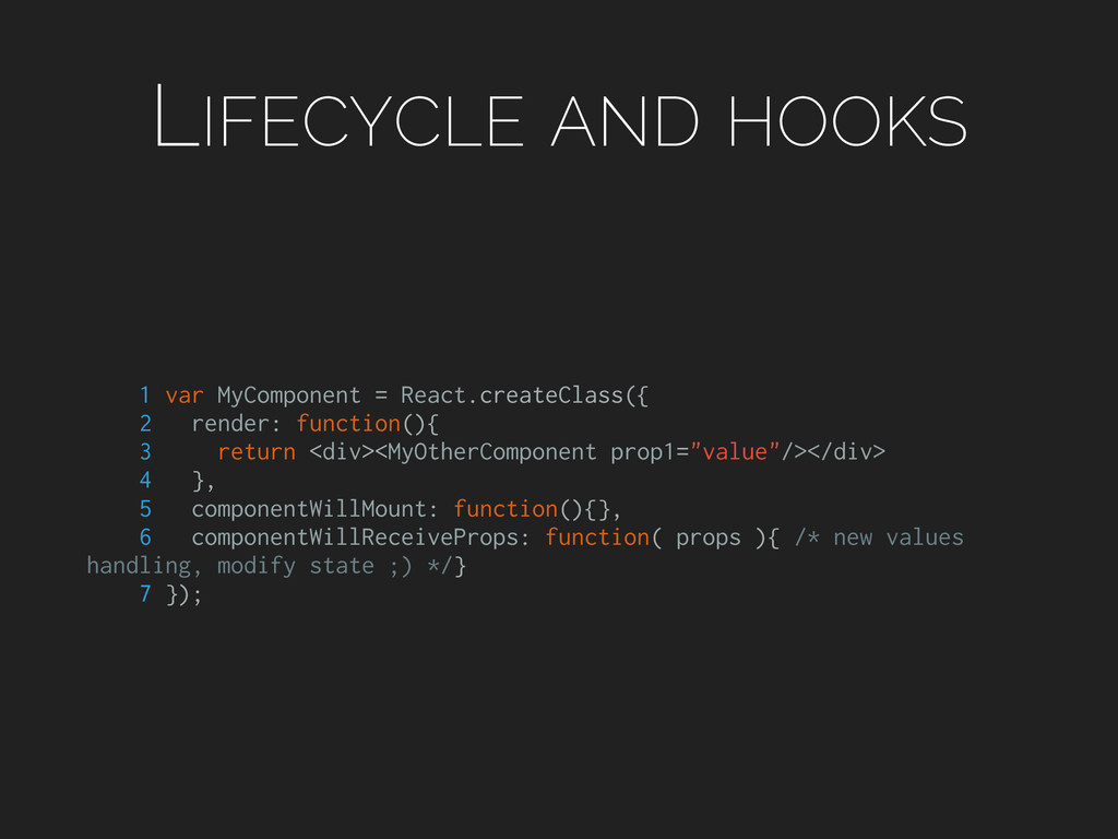 LIFECYCLE AND HOOKS 1 var MyComponent = React.c...