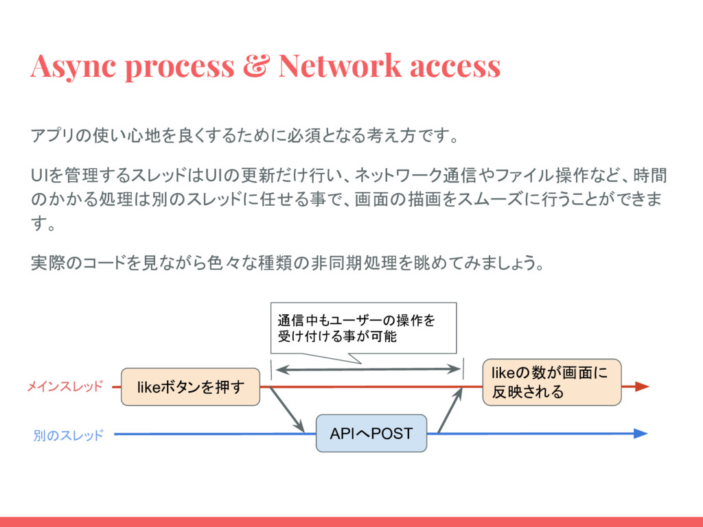 Async process & Network access アプリの使い心地を良くするために...