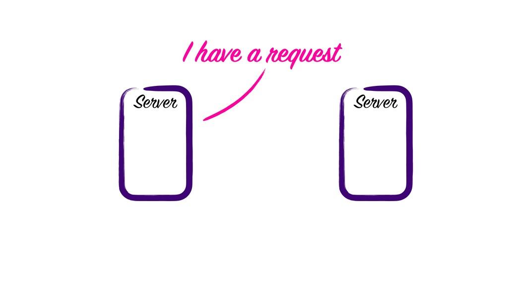 Server Server I have a request