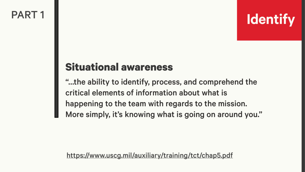Identify PART 1 Situational awareness https://w...
