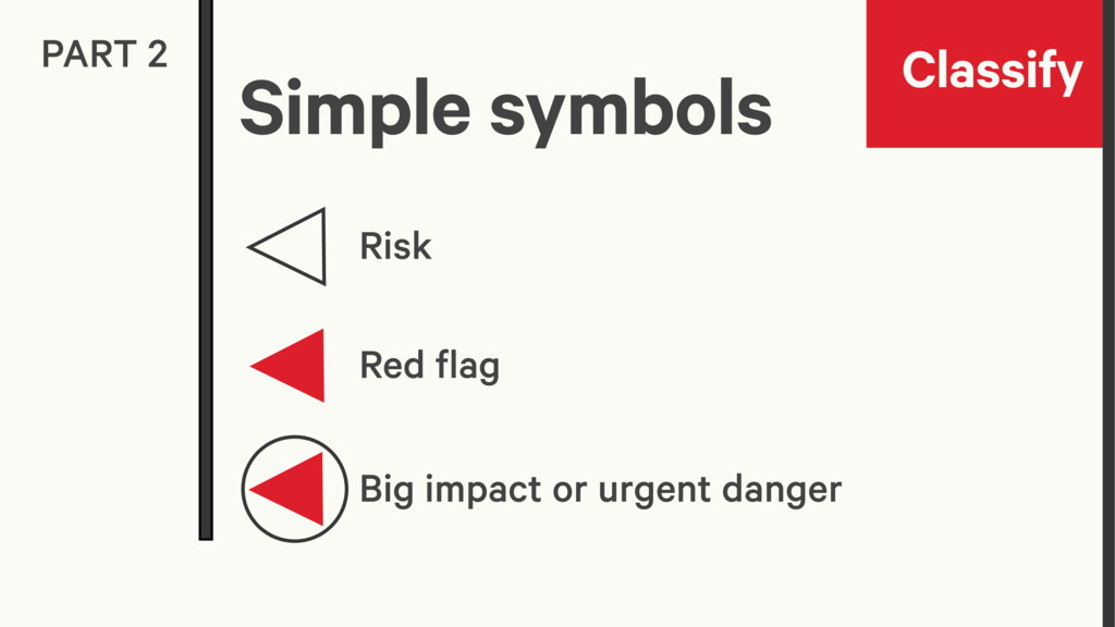 Classify PART 2 Risk Red flag Big impact or urg...