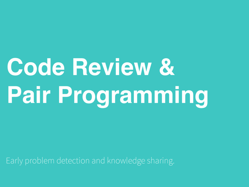 Code Review & Pair Programming Early problem de...