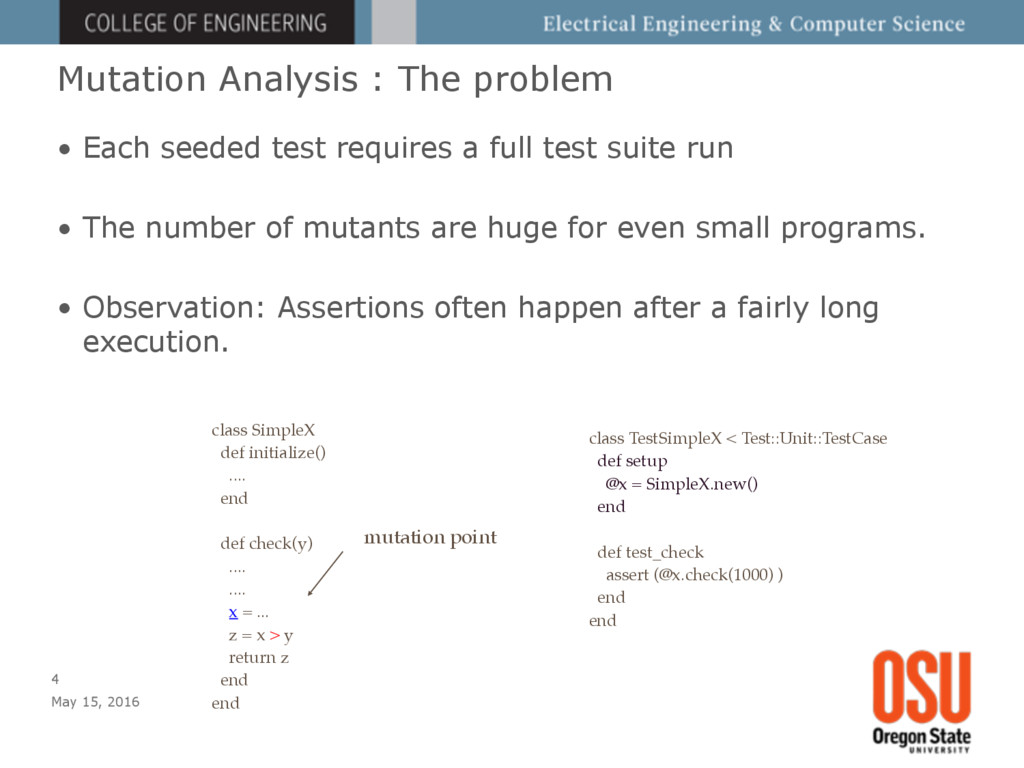 Mutation Analysis : The problem • Each seeded t...