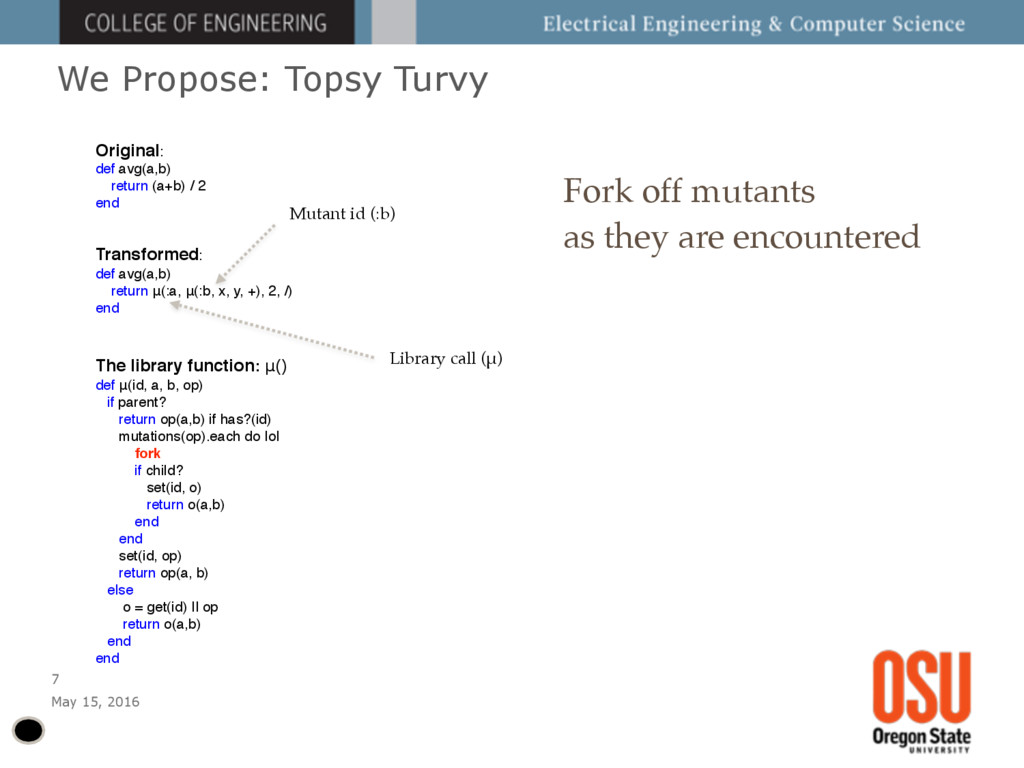 We Propose: Topsy Turvy May 15, 2016 7 Fork off...