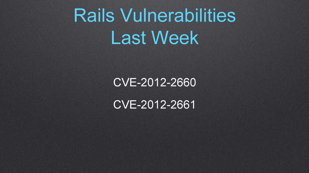 Rails Vulnerabilities Last Week CVE-2012-2660 C...