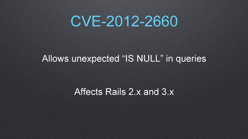 """CVE-2012-2660 Allows unexpected """"IS NULL"""" in qu..."""