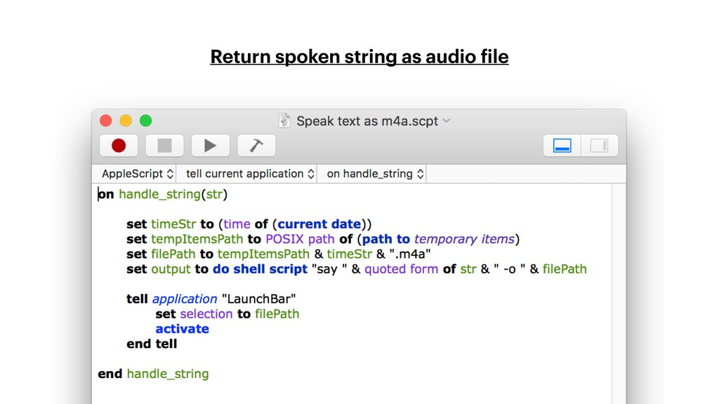 Return spoken string as audio file