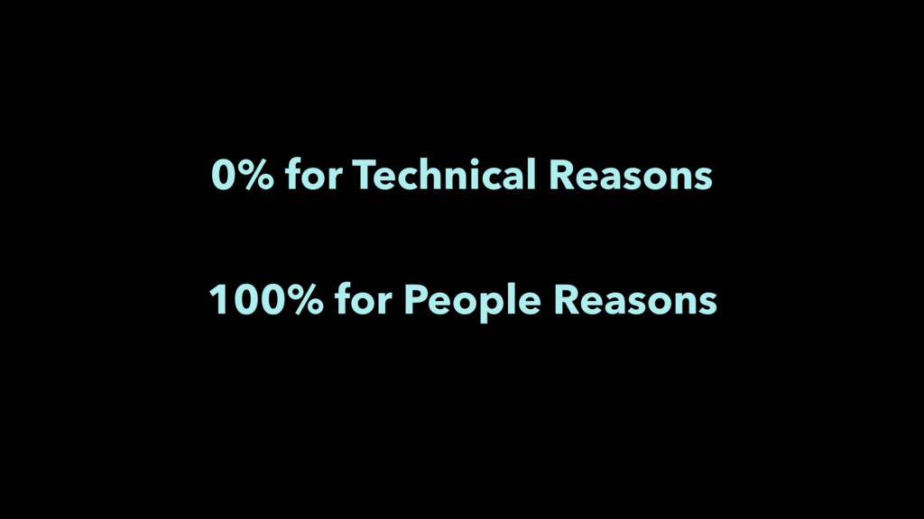 0% for Technical Reasons 100% for People Reasons