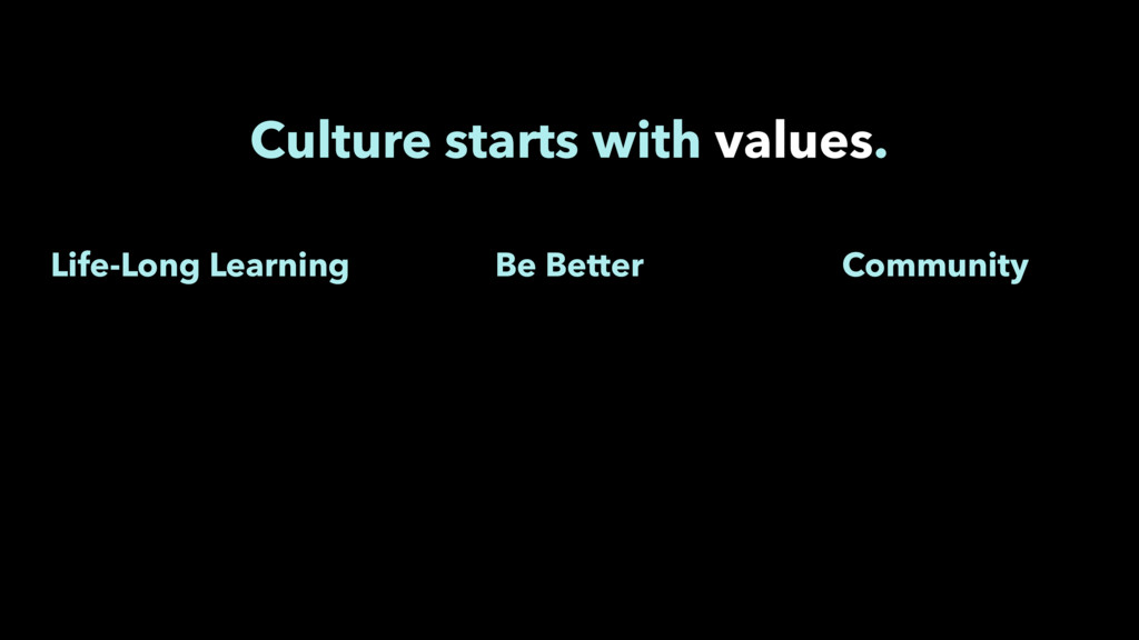 Culture starts with values. Community Be Better...
