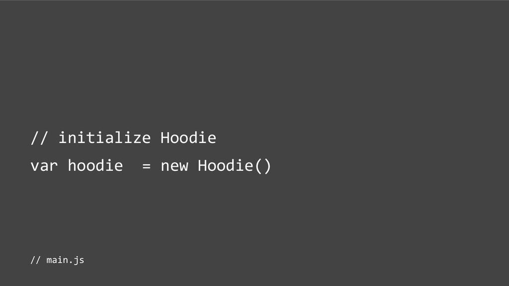 // initialize Hoodie var hoodie = new Hoodie() ...