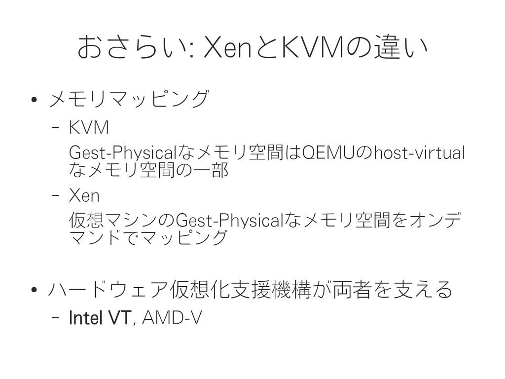 おさらい: XenとKVMの違い ● メモリマッピング – KVM Gest-Physical...