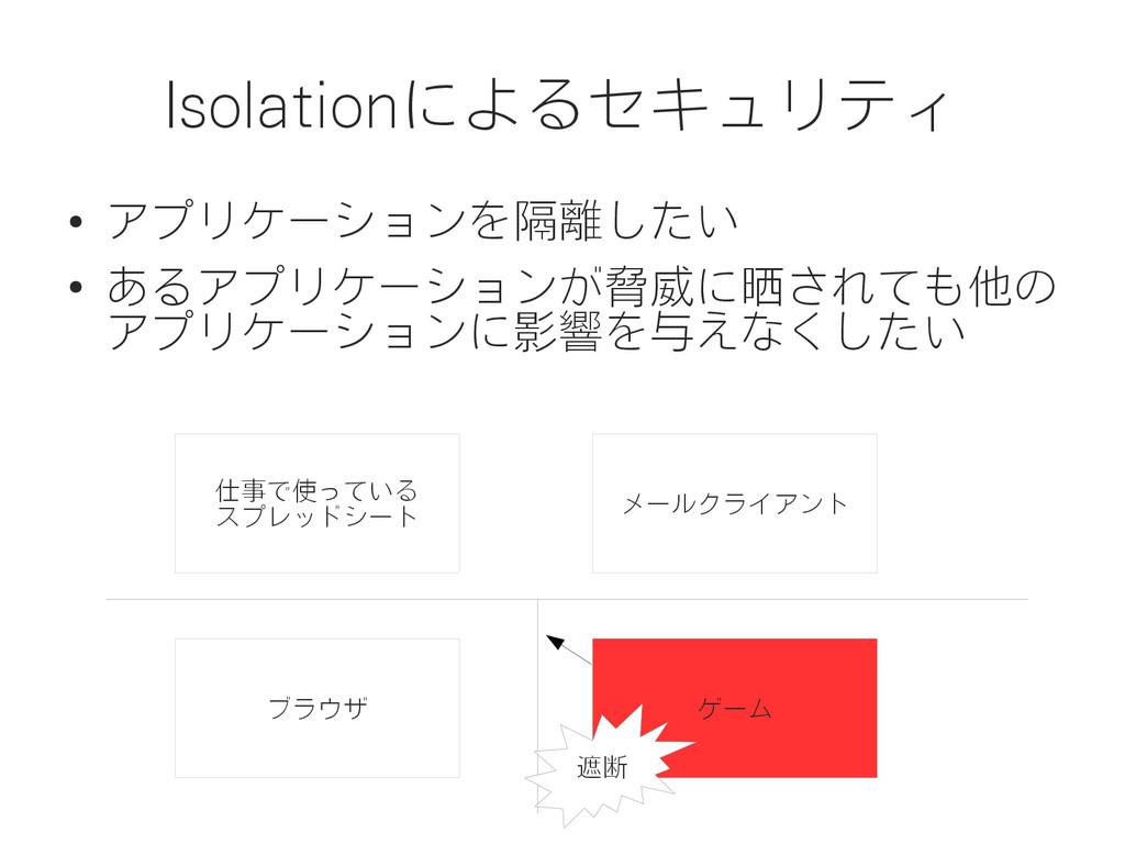 Isolationによるセキュリティ ● アプリケーションを隔離したい ● あるアプリケーショ...