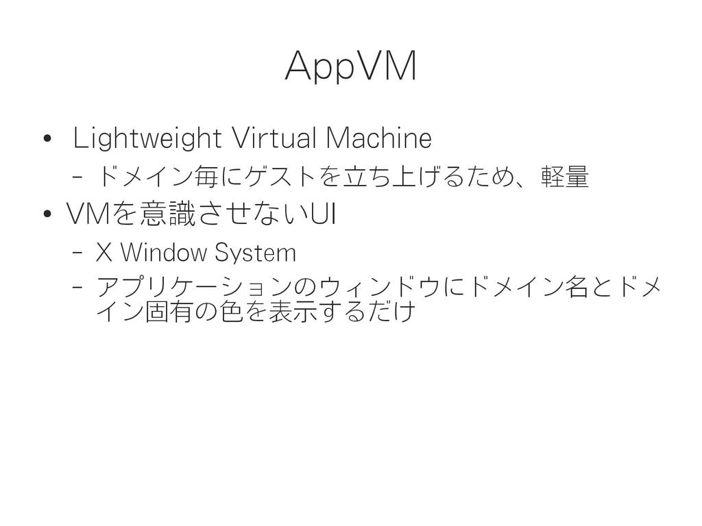 AppVM ● Lightweight Virtual Machine – ドメイン毎にゲスト...
