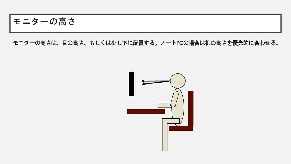モニターの高さ モニターの高さは、目の高さ、もしくは少し下に配置する。ノートPCの場合は机の高...