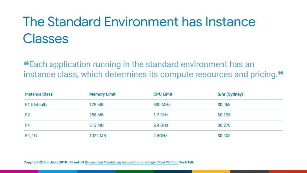 The Standard Environment has Instance Classes ❝...
