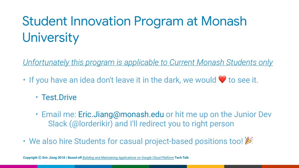 Student Innovation Program at Monash University...