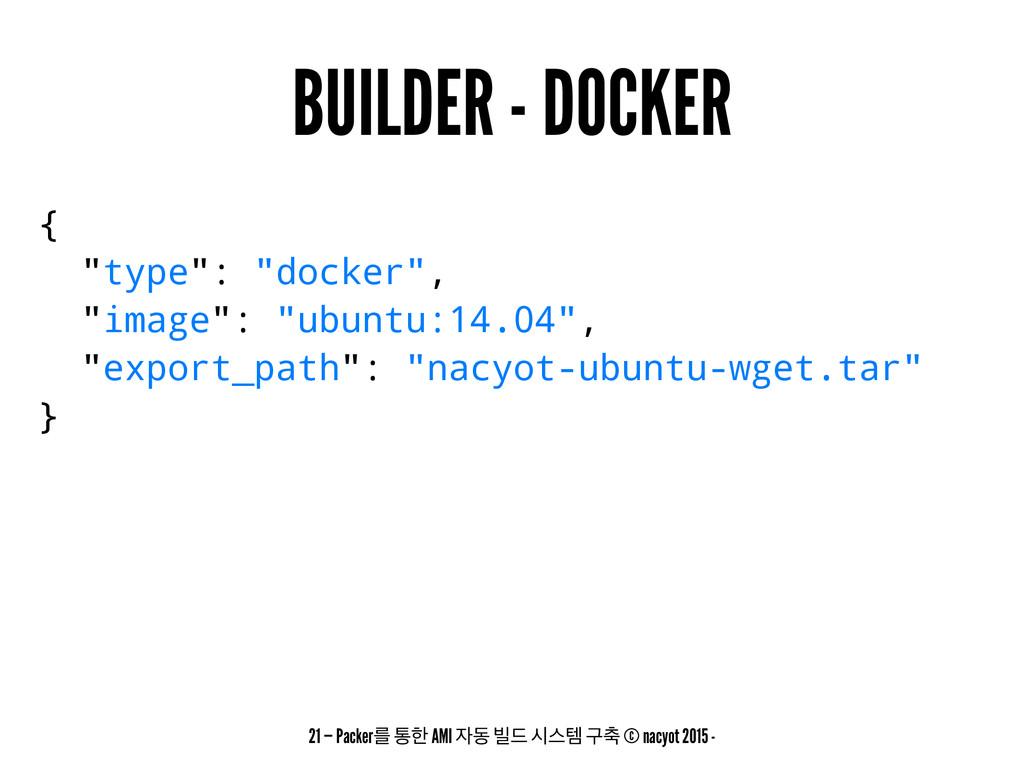 """BUILDER - DOCKER { """"type"""": """"docker"""", """"image"""": """"..."""