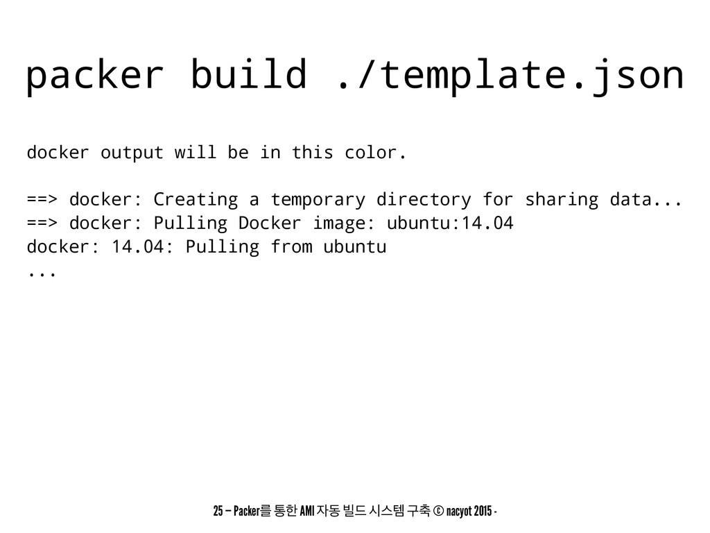 packer build ./template.json docker output will...