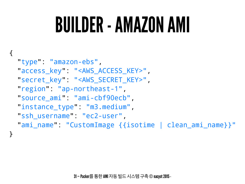 "BUILDER - AMAZON AMI { ""type"": ""amazon-ebs"", ""a..."