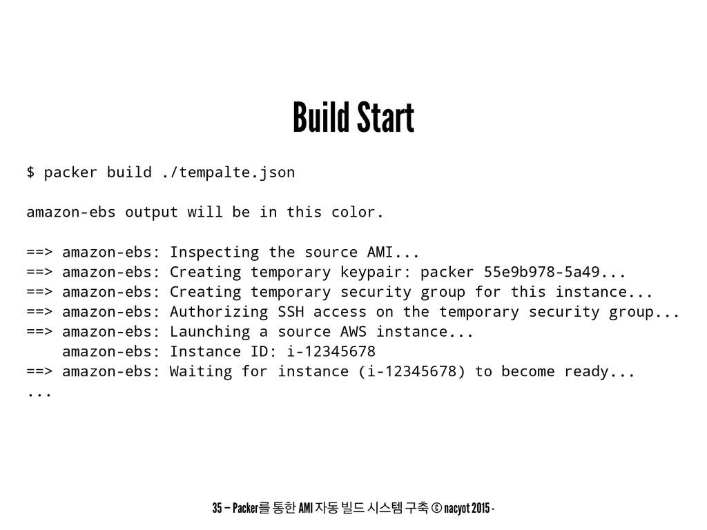 Build Start $ packer build ./tempalte.json amaz...