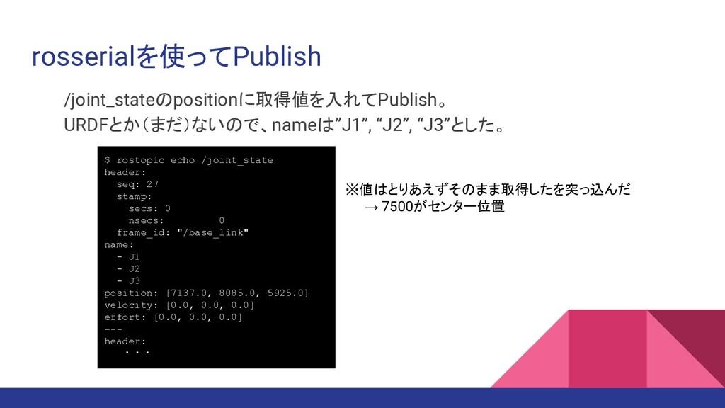 rosserialを使ってPublish /joint_stateのpositionに取得値を...