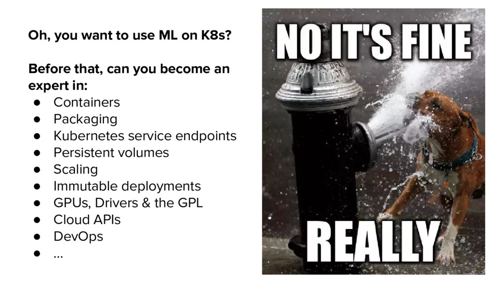Oh, you want to use ML on K8s? Before that, can...