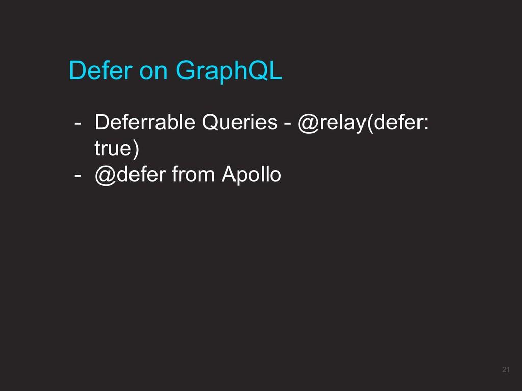 Defer on GraphQL 21 - Deferrable Queries - @rel...