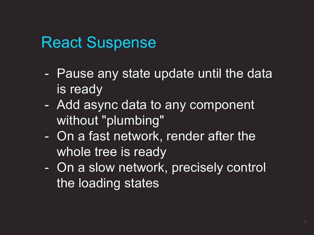 React Suspense 5 - Pause any state update until...