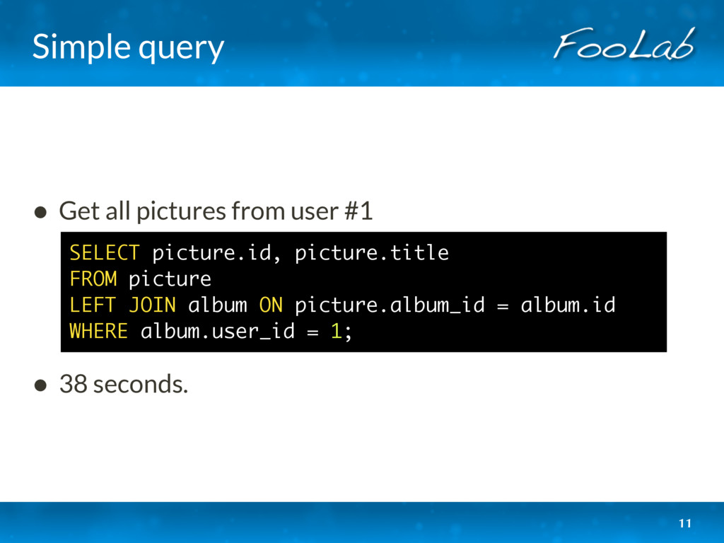 Simple query • Get all pictures from user #1 ...
