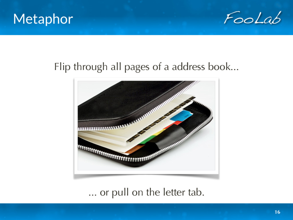 Metaphor 16 Flip through all pages of a address...