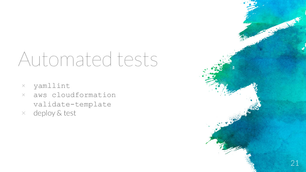 Automated tests × yamllint × aws cloudformation...
