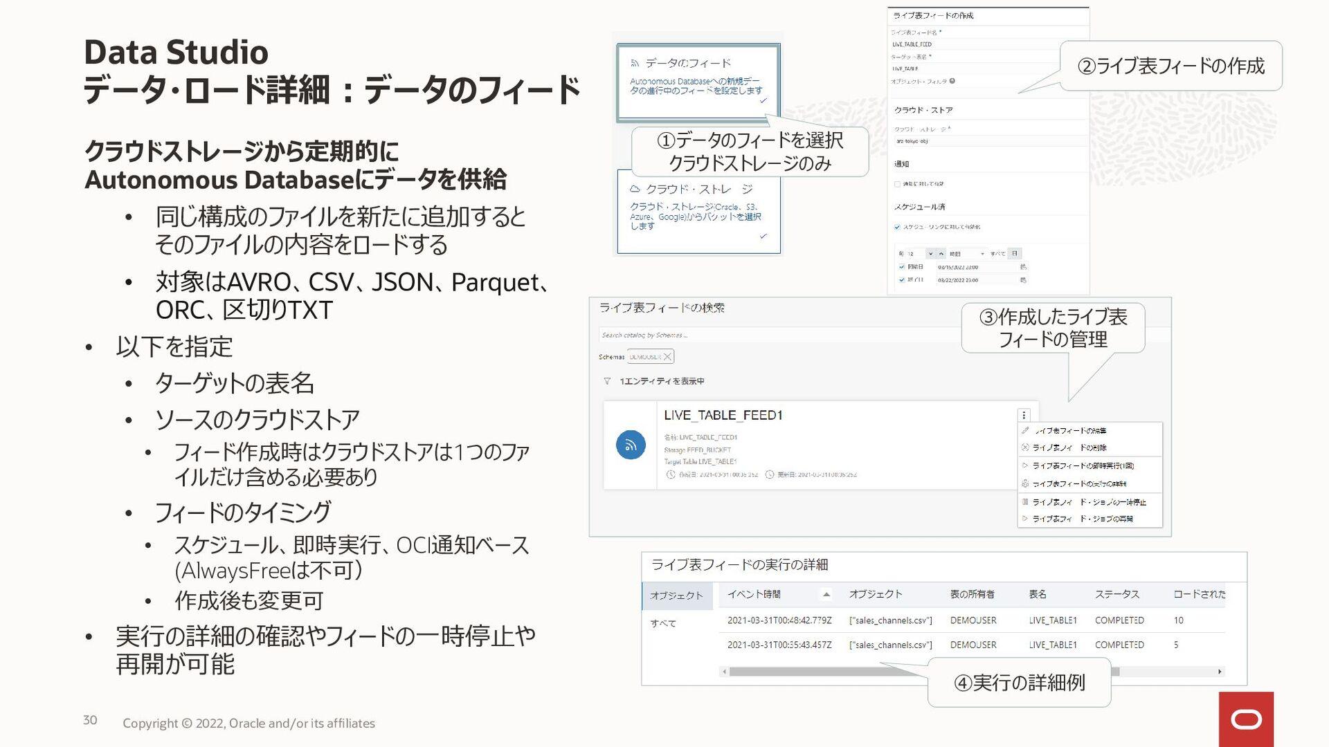 • 実行結果はアイコンで表示 • エラー情報などはアイコンにカーソルを置くことで確認 データ・...