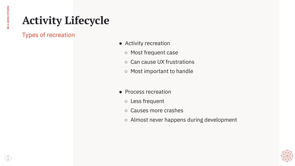 BE A GOOD CITIZEN 1 4 Activity Lifecycle Types ...