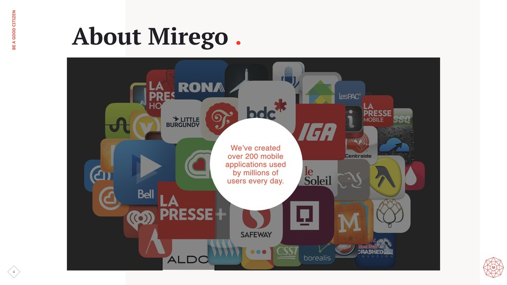 BE A GOOD CITIZEN 4 About Mirego .