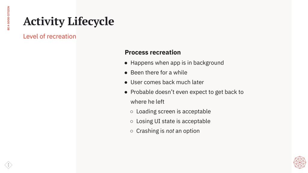 BE A GOOD CITIZEN Process recreation ● Happens ...