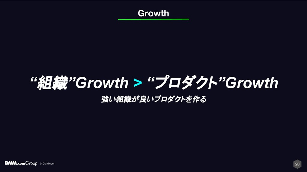 "© DMM.com 20 Growth ""組織""Growth > ""プロダクト""Growth ..."