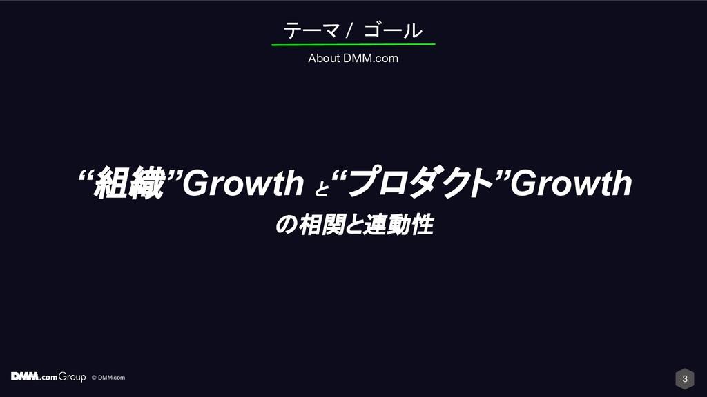 "© DMM.com 3 テーマ / ゴール About DMM.com ""組織""Growth ..."