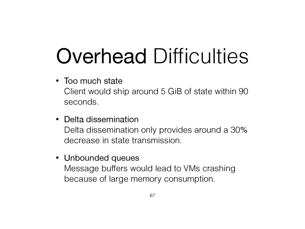 Overhead Difficulties • Too much state Client w...