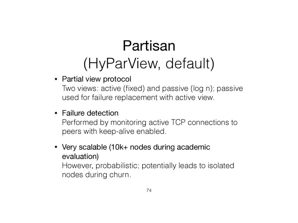 Partisan (HyParView, default) • Partial view pr...